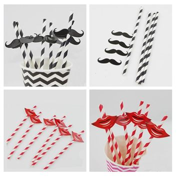 25Pcs Black And Red Striped Beard Lips Sticker Paper Straws For Wedding Party Festive Supplies Decoration Paper Drinking Straws