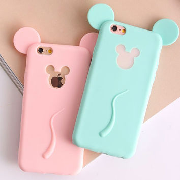 Colorful 3D Soft Mickey Mouse Ear Case For iphone 5S Case For iphone 5 SE 6 6S Phone Cases Cute Candy Silicone Cartoon Cover HOT