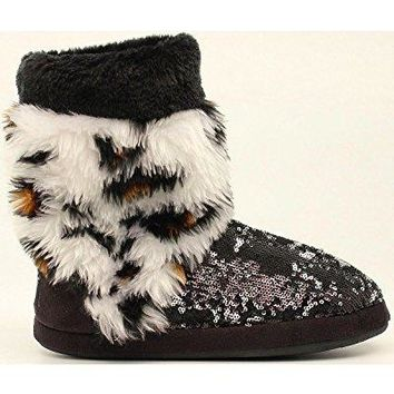 Blazin Roxx Womens Sequin Leopard Boot Slippers Faux Fur