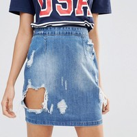 Missguided Ripped Denim Skirt