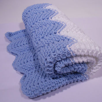 Soft Cotton Knit Baby Blanket, Chevron Knit Baby Blanket, Knit Pram Blanket, Knit Stroller Blanket, Blue and White - Ready to Ship