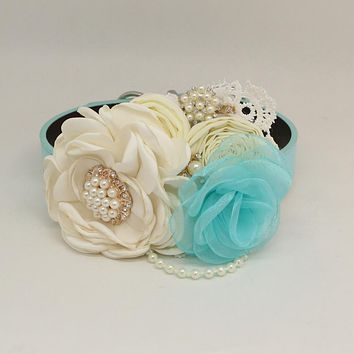Patience Ivory Light blue Flower dog collar, Pet wedding accessory, Pearls Rhinestone