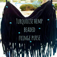Boho Fringe Hemp Beaded Shoulder Messenger Bag Purse **Choose Black or Brown purse with turquoise or white hemp beads)**