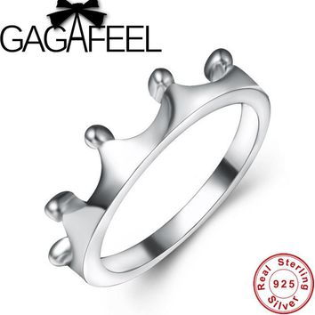 GAGAFEEL Beautiful Crown Ring For Girl Brand New Real Pure 925 Sterling Silver Rings For Women Luxury Finger Rings Women Jewelry