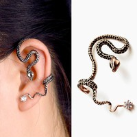 Black Dot Snake Ear Cuff No Piercing Earrings
