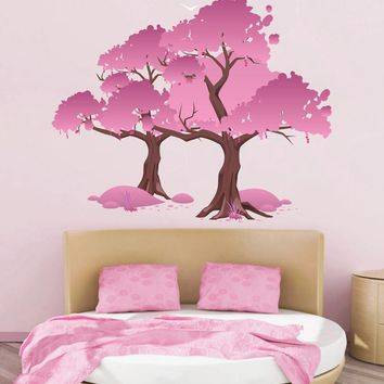cik1515 Full Color Wall decal beautiful japanese cherry tree living room bedroom children