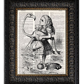 ALICE IN WONDERLAND & FLAMINGO Dictionary Art Print