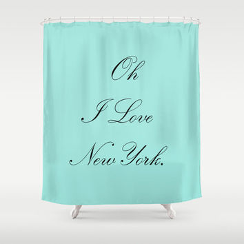 Shower Curtain -  Breakfast at Tiffanys - Crazy About Tiffanys - Breakfast at Tiffanys Decor - Aqua - Fashion Decor - Teen Shower Curtain