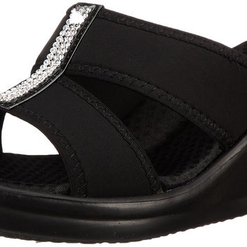 Skechers Cali Women's Rumblers Two-Strap Slide Wedge Sandal Black 8 C/D US '