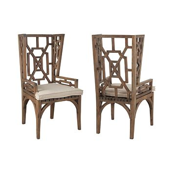 Teak Wing Back Chair Cushion In Cream