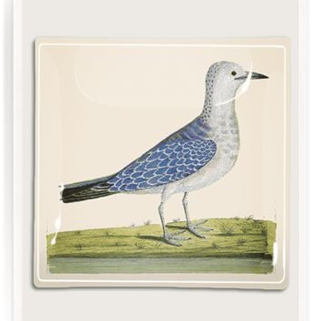 Thoughtful Blue Bird Decoupage Glass Tray
