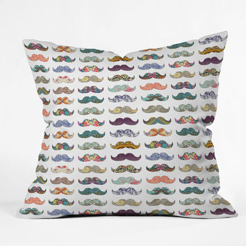 Bianca Green Mustache Mania Throw Pillow