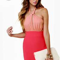 LULUS Exclusive A-List Twist Coral Red Dress