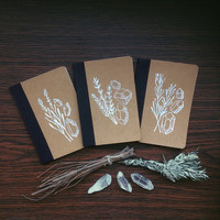 herbs & crystals notebooks // notebook set of three - witch journal - botanical notebook - art notebook - pagan notebook - witchcraft