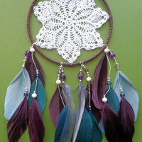 Dream Catcher Doily Purple Blue Gray Beaded by TheModernDreamer