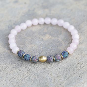 Rose Quartz and Lava Stone Aromatherapy Bracelet