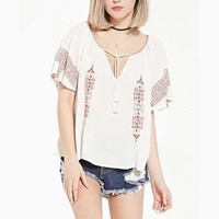 2016 Womens Summer Short Sleeve Shirts V-Neck Fashion Loose Embroidery  Female Casual Blouse Tops Blusas Dark Blue & White