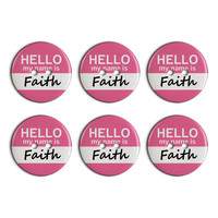 Faith Hello My Name Is Plastic Resin Button Set of 6