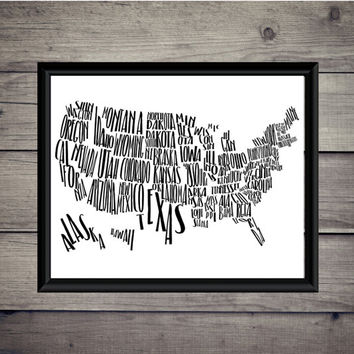 United States of America - US Map - Travel Print - Instant Download - Digital Art - Typography Printable - Gift - Adventure - Decor