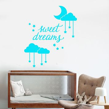 Vinyl Wall Decal Sweet Dream Words Moon Stars Decor For Nursery Stickers Unique Gift (1678ig)