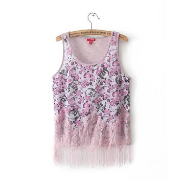 Floral Print Sleeveless Lace Fringed Shirt