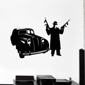 Vinyl Wall Decal Gangster Car Mafia Guns Tommy Gun Stickers Murals Unique Gift (ig4889)