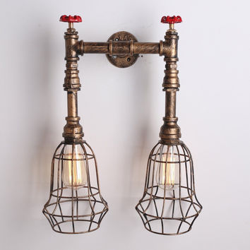 Copper Vintage Metal Cage Shade Water Pipe Wall Light Max. 80W with 2 Lights Painted Finish