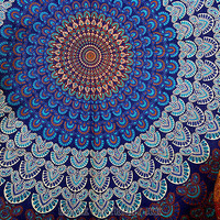 Blue Mandala Tapestry Indian Wall Hanging Hippie Indian Tapestry Bohemian SBS037