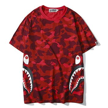 BAPE AAPE Classic Popular Women Men Casual Camouflage Print Pure Cotton T-Shirt Top Red