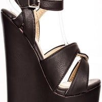 BLACK FAUX LEATHER PLATFORM HIGH HEEL WEDGE