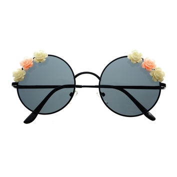 Cute Flower Indie Retro Fashion Style Metal Round Sunglasses R2370