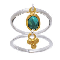 Turquoise & Dangling Charm Ring Set