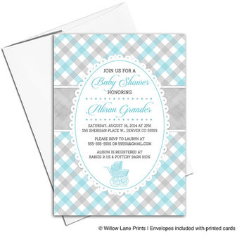 gray and blue baby shower invitation boys | plaid baby shower invite vintage baby stroller - printable or printed - WLP00753