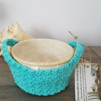 Microwave Bowl Pot Holder Handled Carrier Cozy Turquoise Green