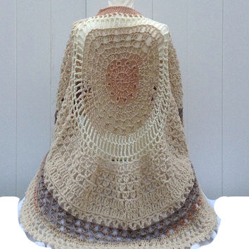 Beige Circular Asymmetric Long Poncho Shawl Handmade Unbalanced Design Beige Shades Hand Crocheted Ready To Ship