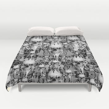 Victorian gothic lace skull pattern Duvet Cover by Kristy Patterson Design