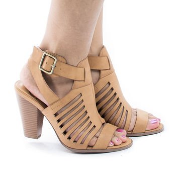 YummyDS Tan Pu By Aquapillar, Open toe Caged Ankle Wrap Stacked Heeled Sandals