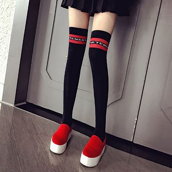 Autumn Winter Women Fashion All-match Multicolor Letter Stripe Stockings Thigh Socks