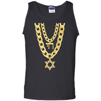 Jew Chai Bling Chain Hanukkah Festival Of Lights Jew  Tank Top