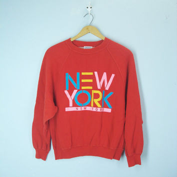 Vintage 70s 80s Sweatshirt, New York Sweatshirt, New York Top, New York Shirt, Slouchy Sweat Shirt, Red Shirt Top Blouse, 1980s Top Blouse
