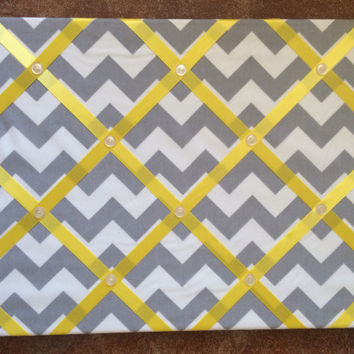Grey Chevron Photo Memory Board
