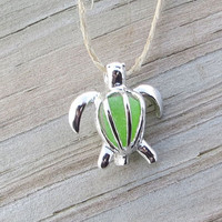 Sea Glass Turtle Locket Honu Key Lime Green