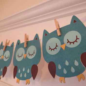 Owl Baby Shower Banner | Blue Brown | Banner | Baby Boy | Baby Girl | Baby Shower | Gender Reveal