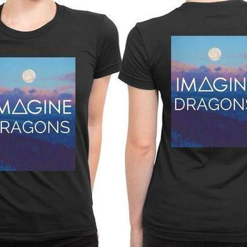 Imagine Dragons Title With Sunset Background 2 Sided Womens T Shirt
