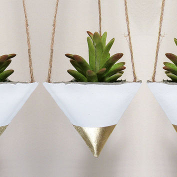 Succulent Planter, Concrete Planter, Hanging Planter, Air Plant Holder, Modern Planter, Geometric Planter, Succulent Pot, Gold - Set of 3