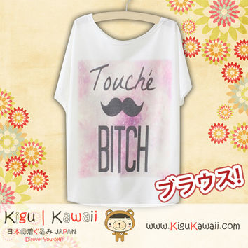 New Mustache Print Fashionable Loose and High Quality Spring and Summer Tshirt Free Size KK566