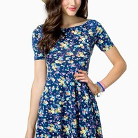 Bouquet Floral Flare Dress