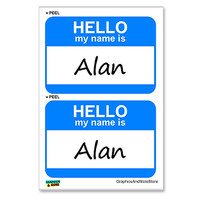 Alan Hello My Name Is - Sheet of 2 Stickers