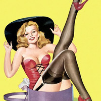 Pinup Poster Blonde Sitting In A Hat Box
