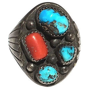Mens Navajo Turquoise & Coral Ring